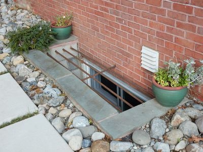 Basement window opening with bars above and surrounded by rocks and plants