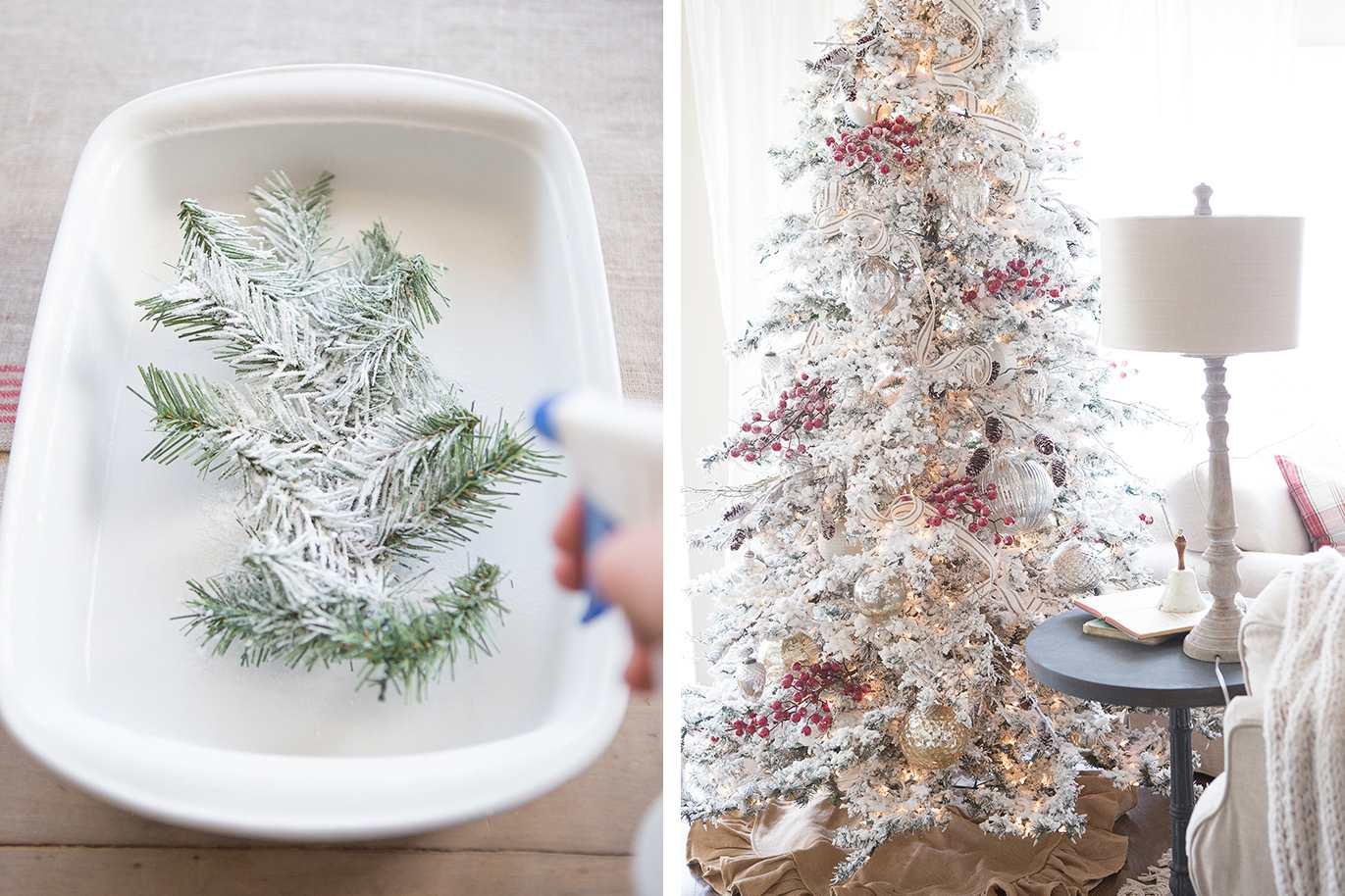 Árbol de Navidad con guirnalda de guinga negra