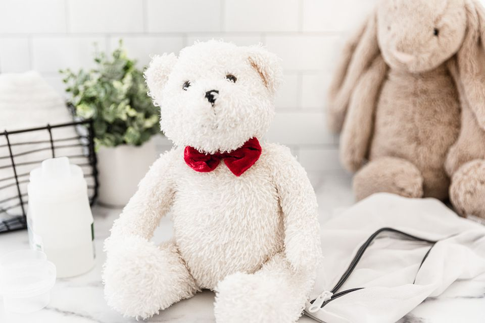 Stuffed teddy bear with red bowtie and bunny next to cleaning materials