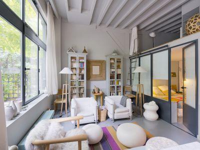 Contemporary living room. Loft. Studio apartment. Bedroom