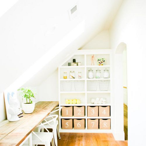 Homework station in reclaimed attic space