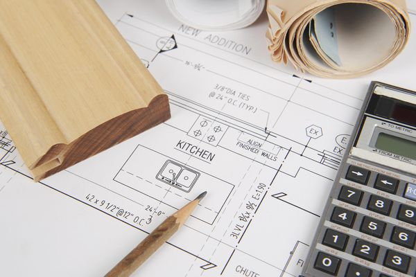 house renovation blueprints with calculator