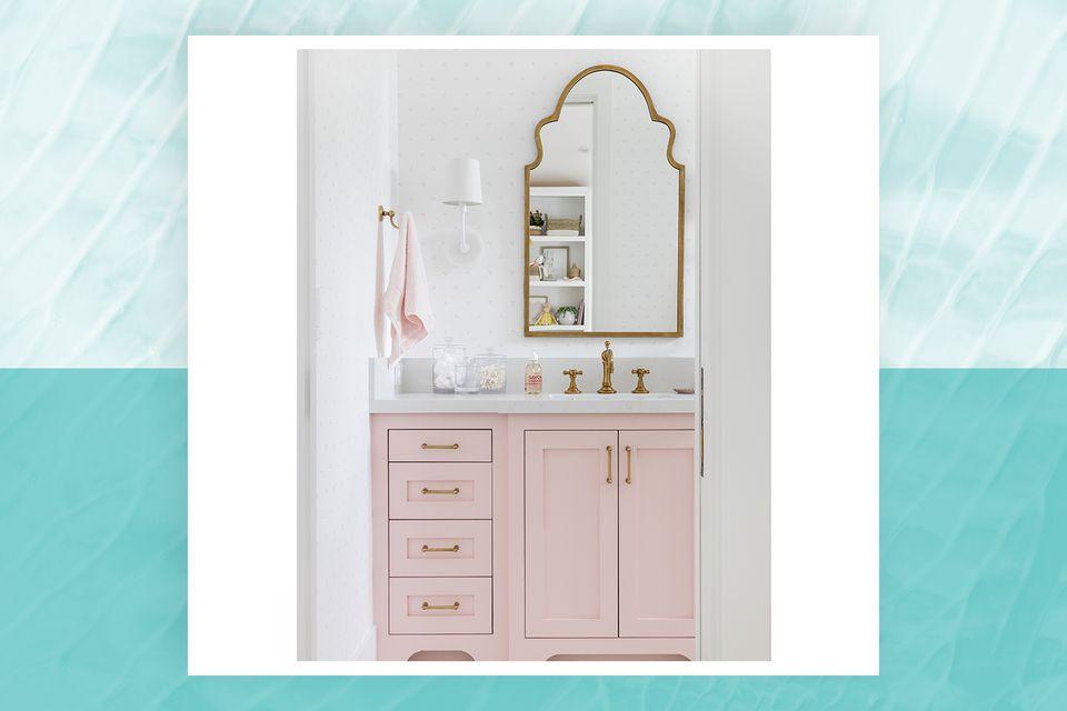 bathroom features a pink vanity