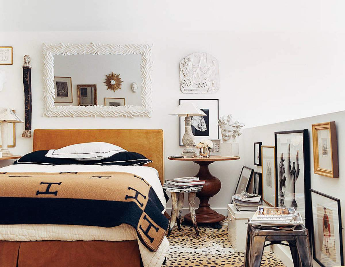 traditional bedroom with eclectic decor