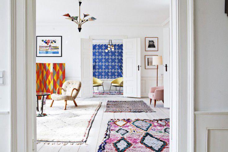 Alfombras orientales en diseño escandinavo moderno