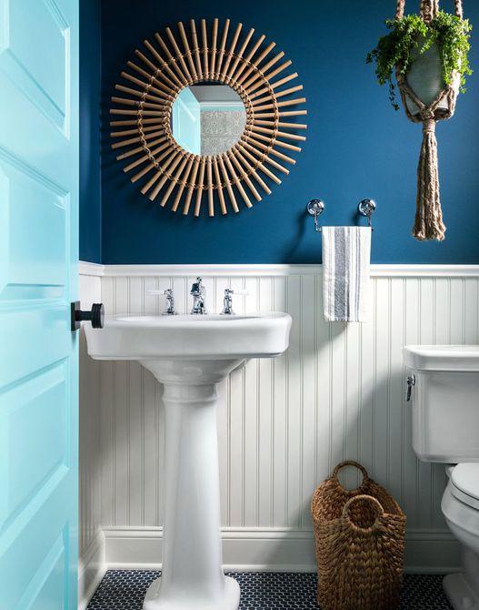 baño para adolescentes azul y blanco