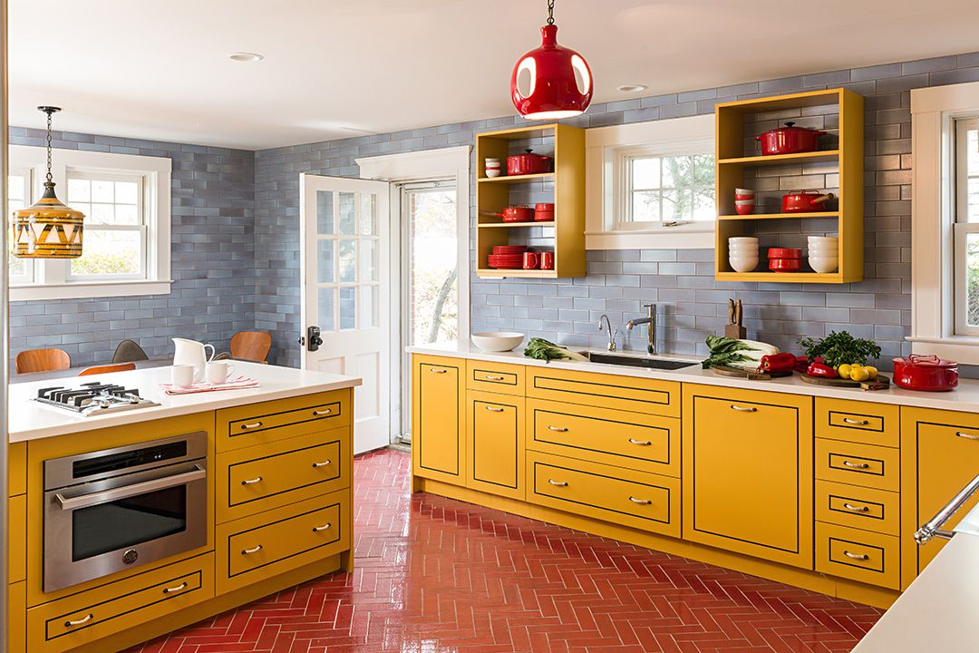yellow, red and gray kitchen