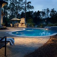 Masonry pool deck picture.