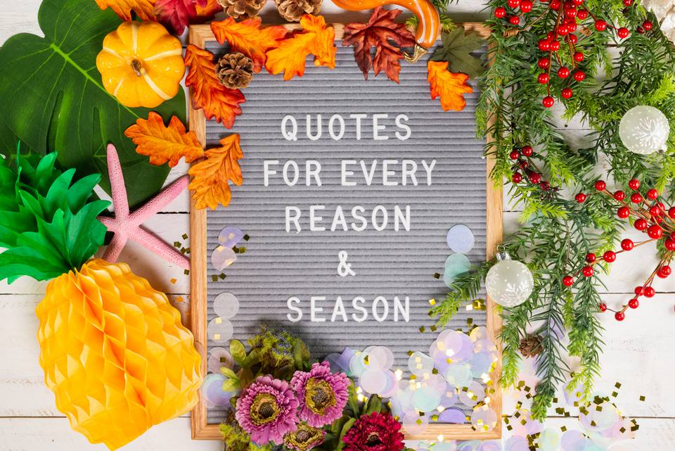 "letter board quote: ""Quotes for every reason & season"""