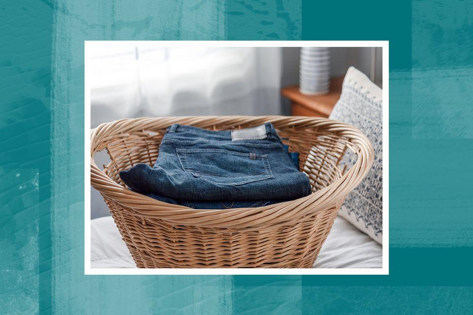 a basket of folded laundry
