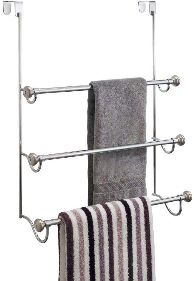 iDesign York Over the Shower Door Towel Rack for Bathroom