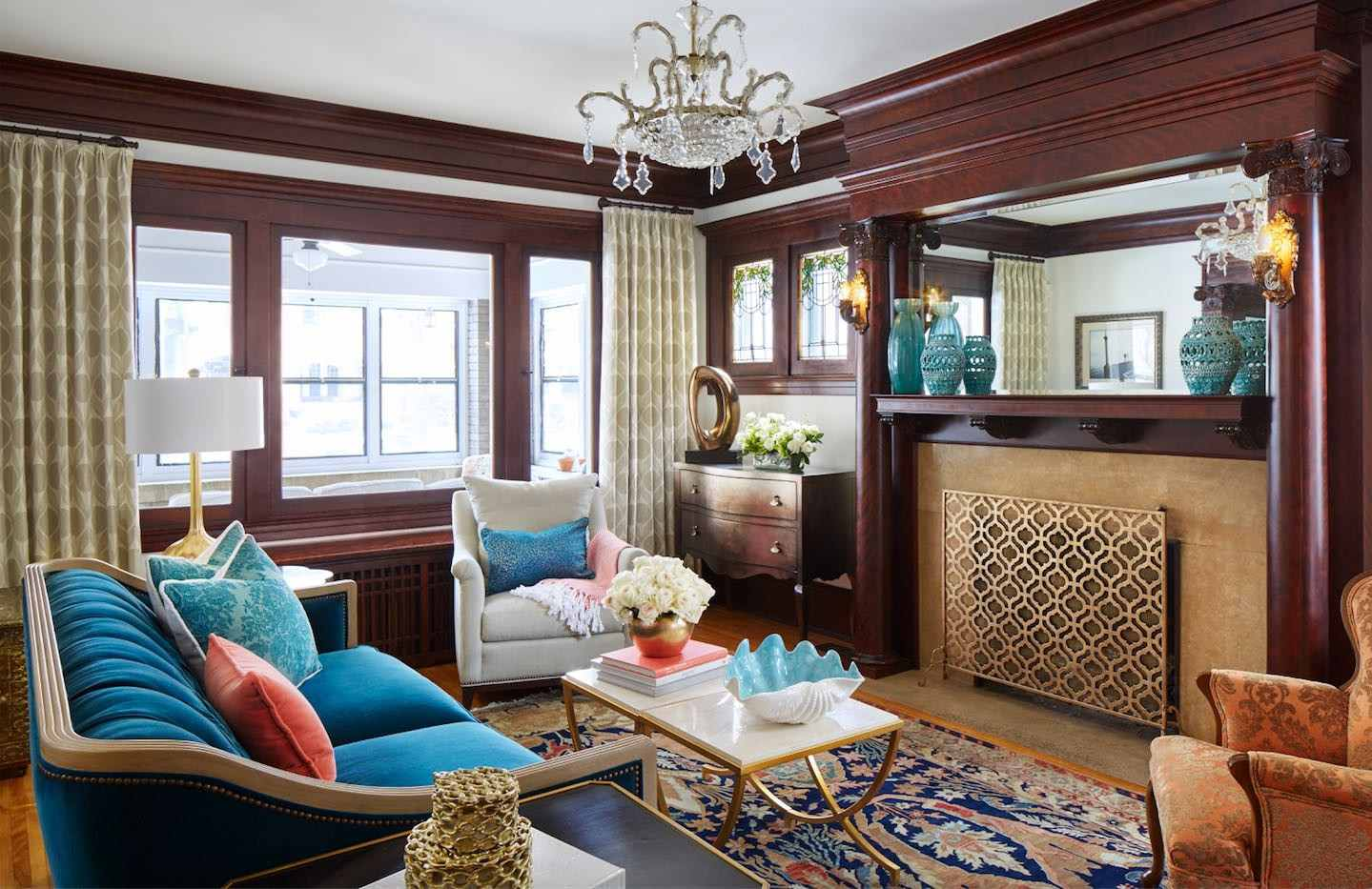 colorful traditional living room in Victorian home