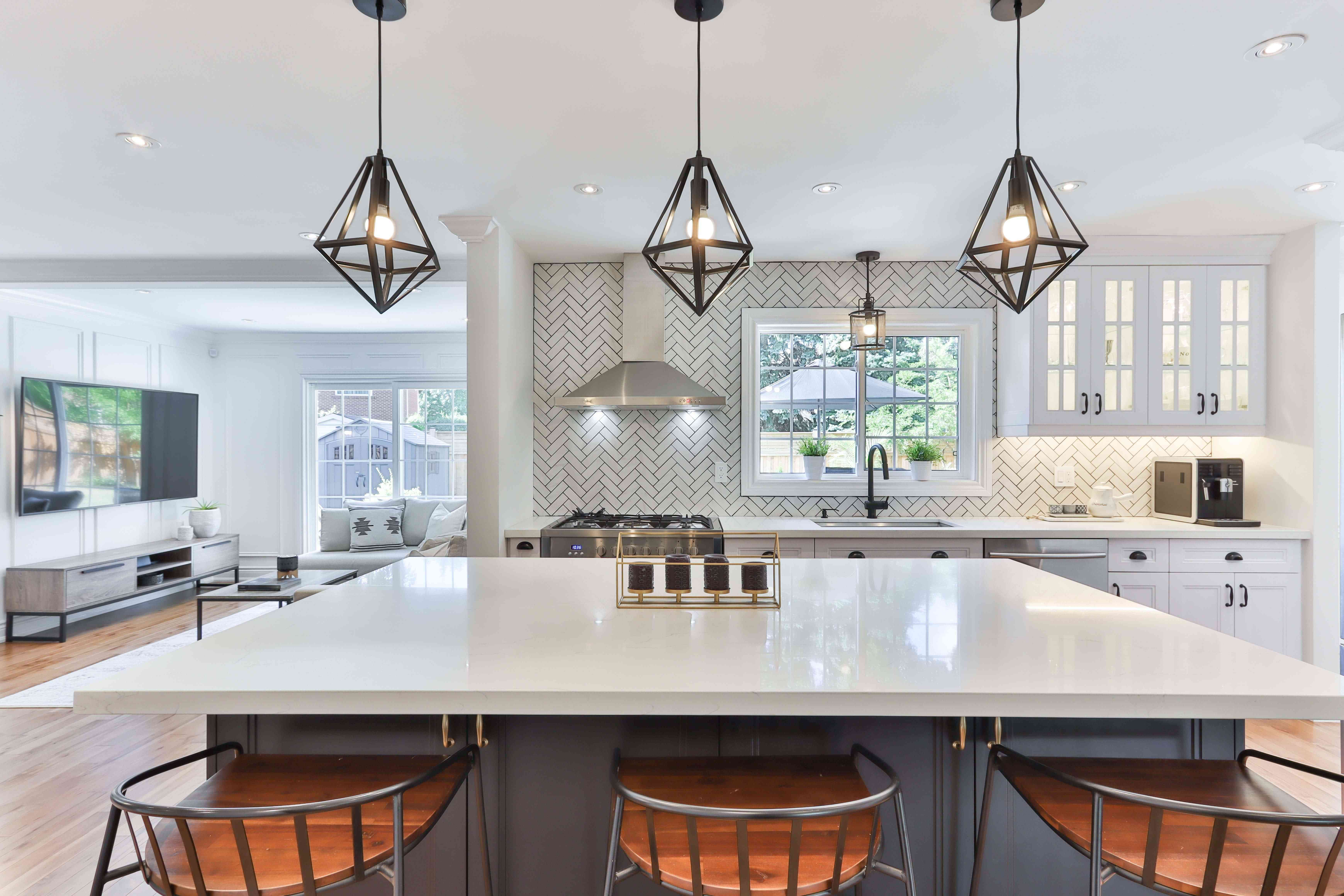 artful pendant lights in the kitchen