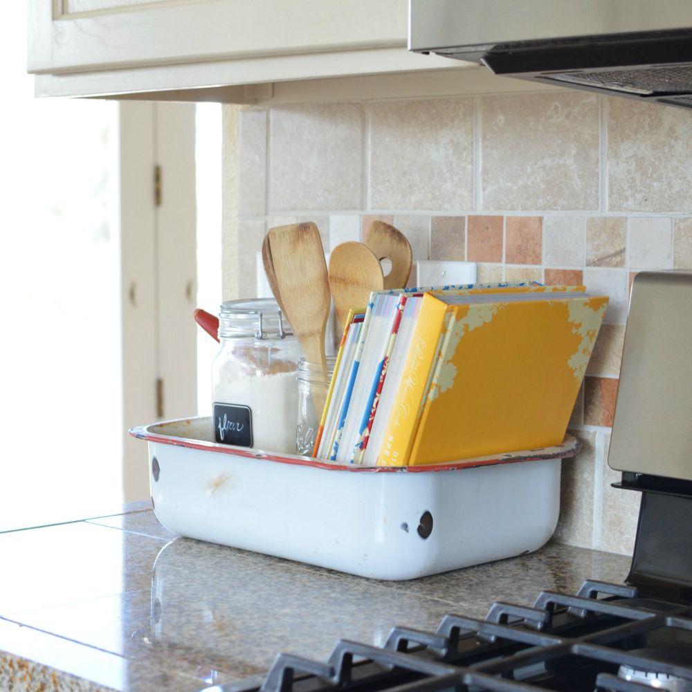 enamel pan on a counter