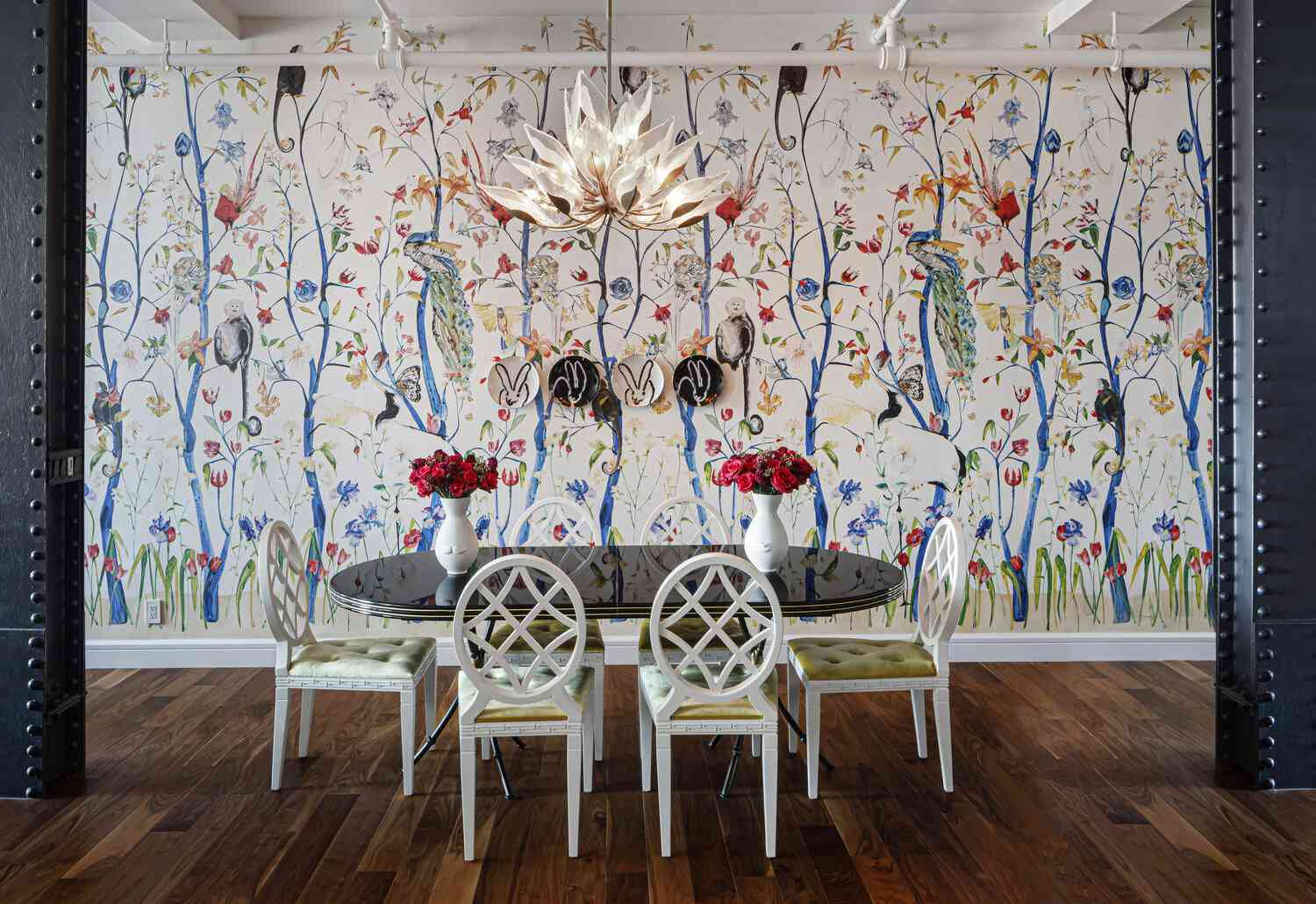 nature wall mural, bunny plates, dining space