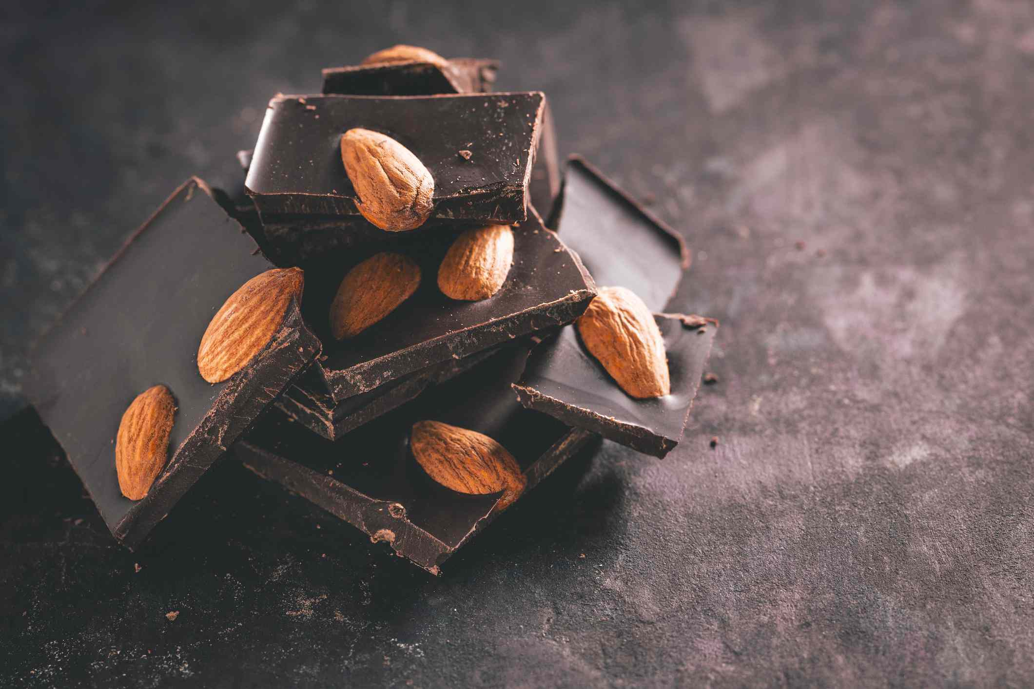 A close-up of almond chocolate.