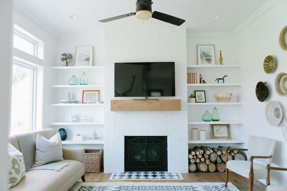 chimenea de ladrillo blanco inspirado en scandi tendencias de decoración de chimeneas de hormigón 2018