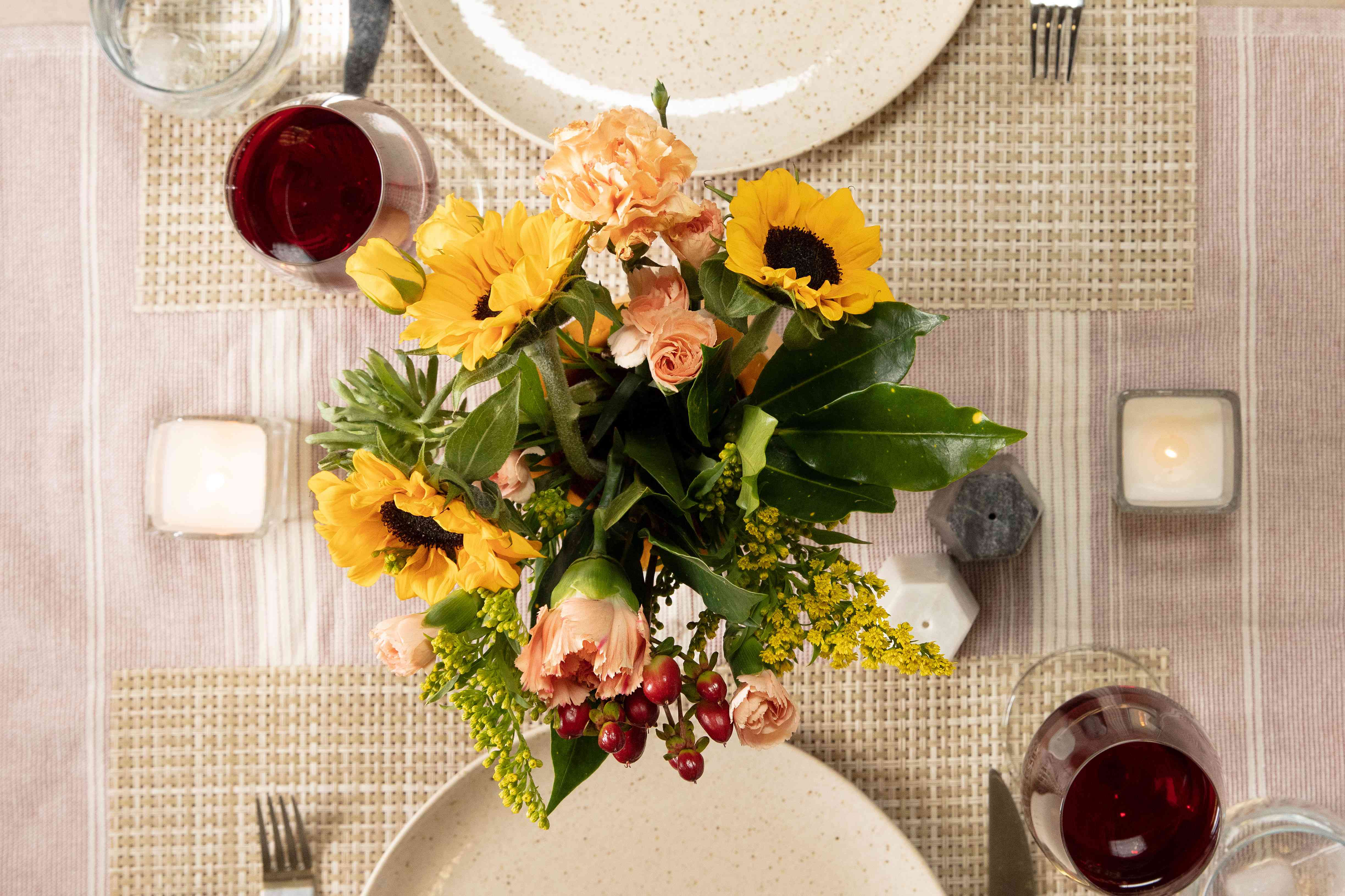a gourd vase used as a centerpiece