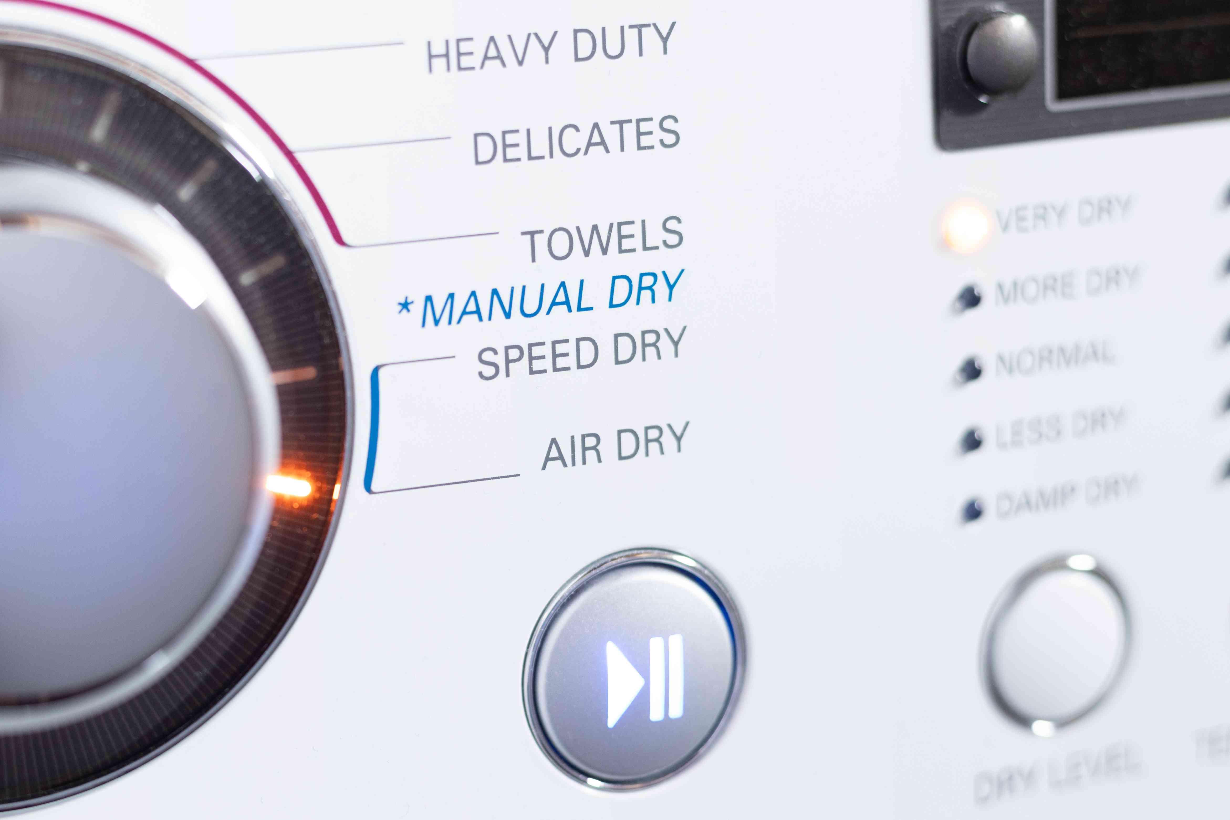 Dryer settings on air dry