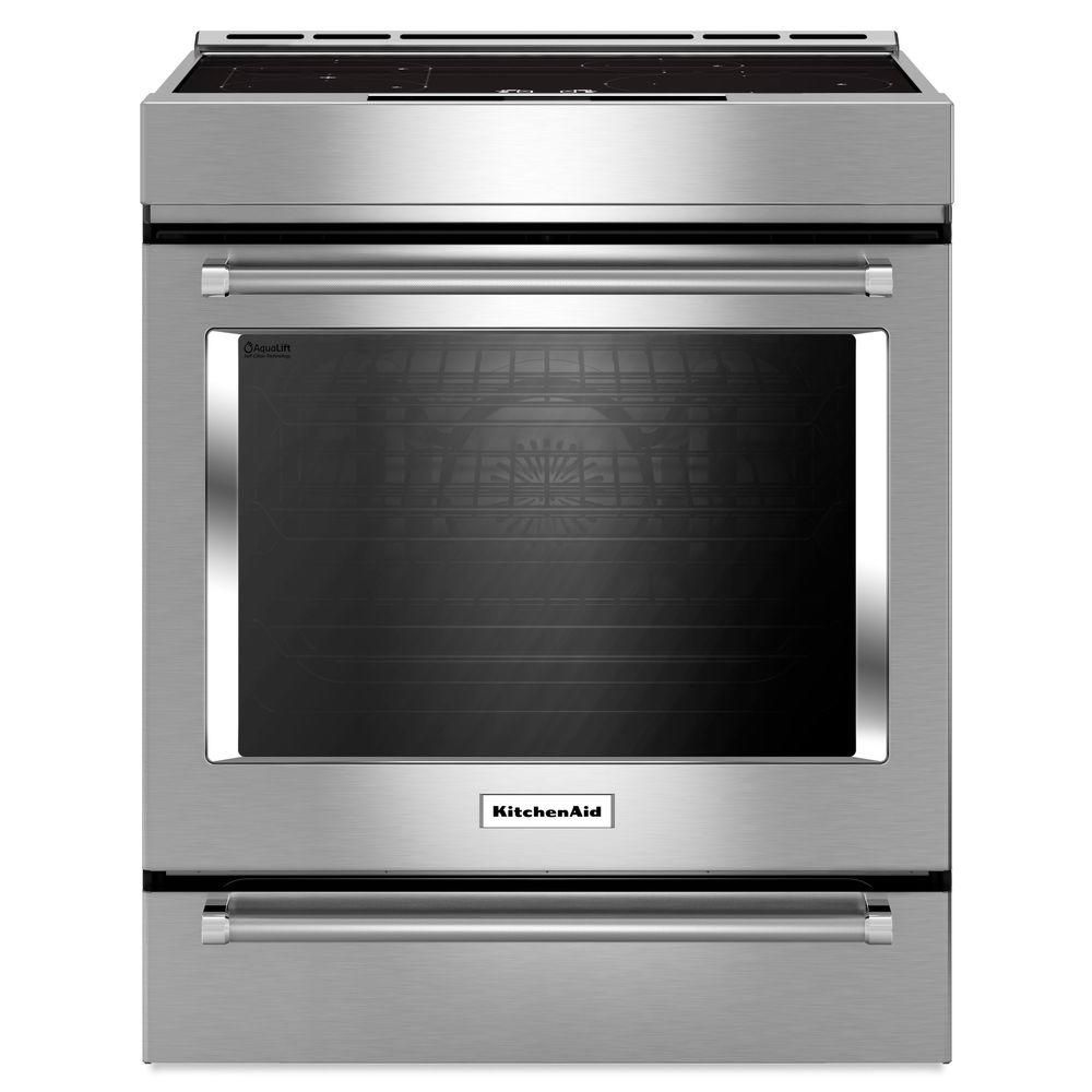 KitchenAid 7.1 cu. ft. Slide-In Induction Range Double Oven with Self-Cleaning Convection Oven in Stainless Steel