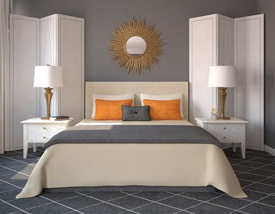 Orange And Grey Combination Modern Bedroom