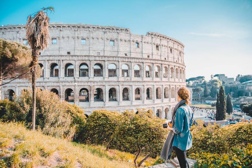 woman outside of Colosseum
