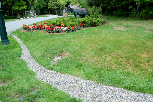A French drain with gravel