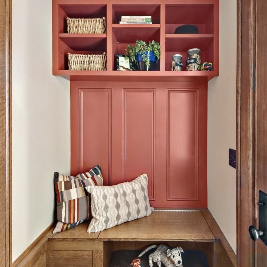 Mudroom painted with coral paint