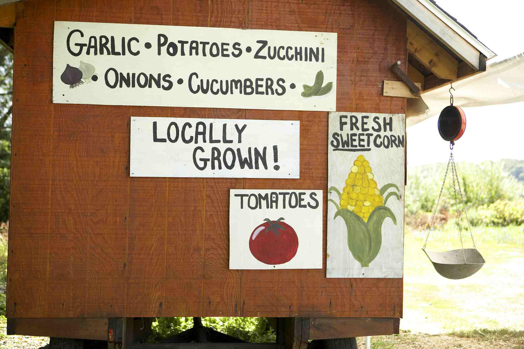 Letreros del mercado de agricultores