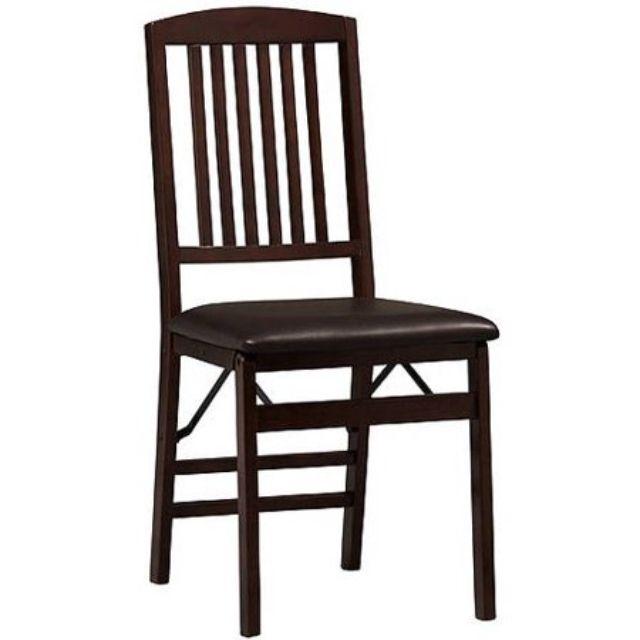 Linon Triena Mission Back Vinyl Folding Dining Chair, Set of 2