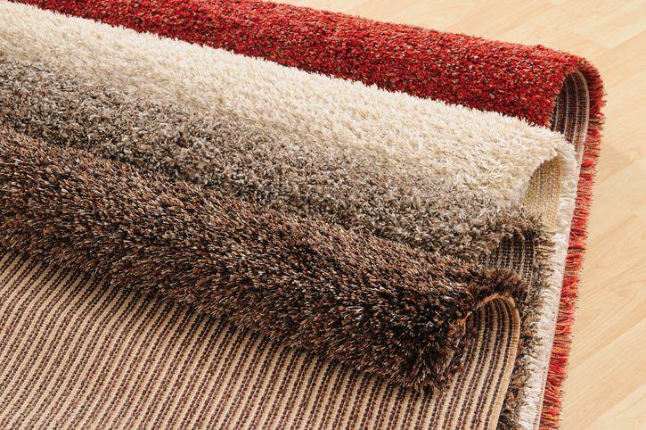 Carpet samples on wooden floor