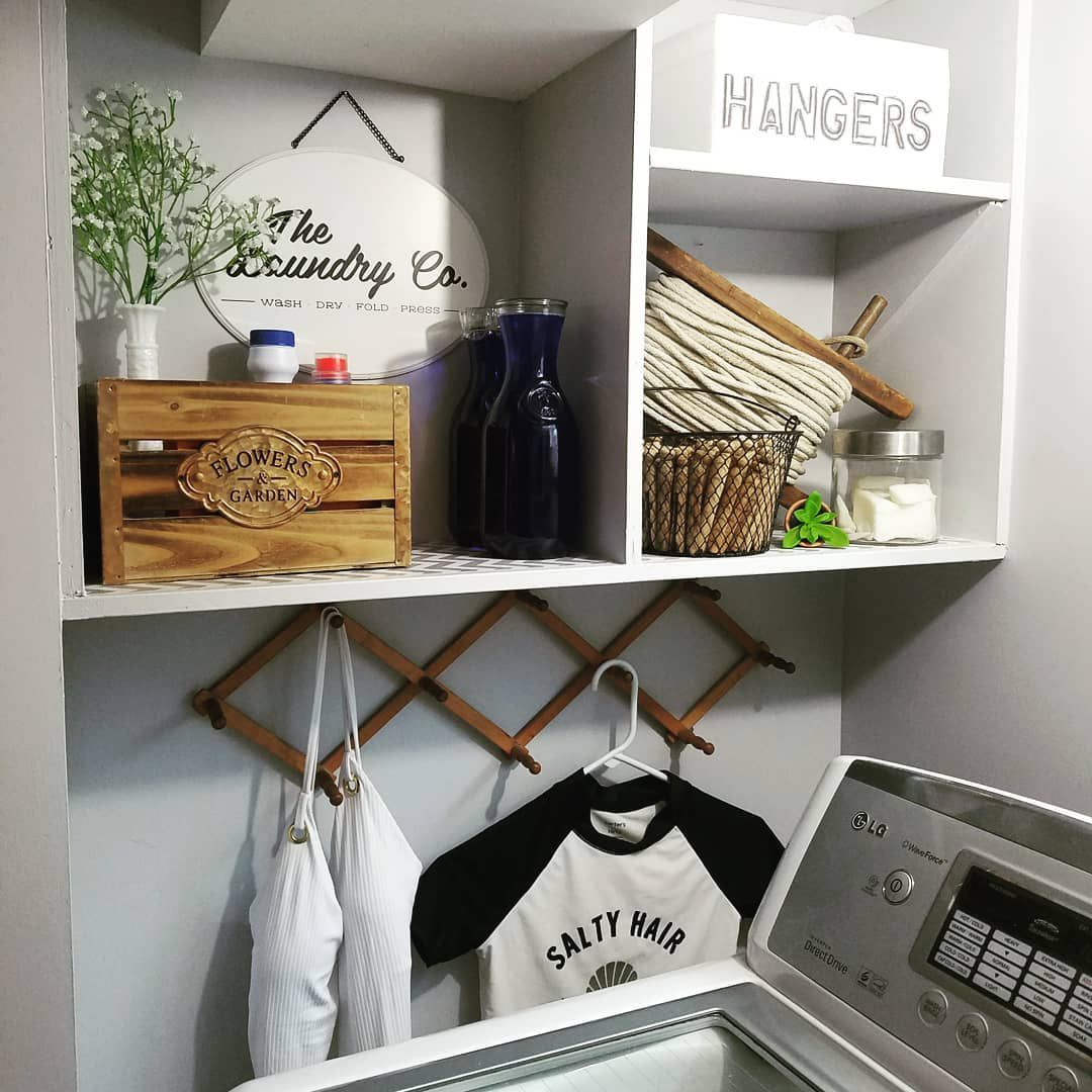 Small laundry room with storage