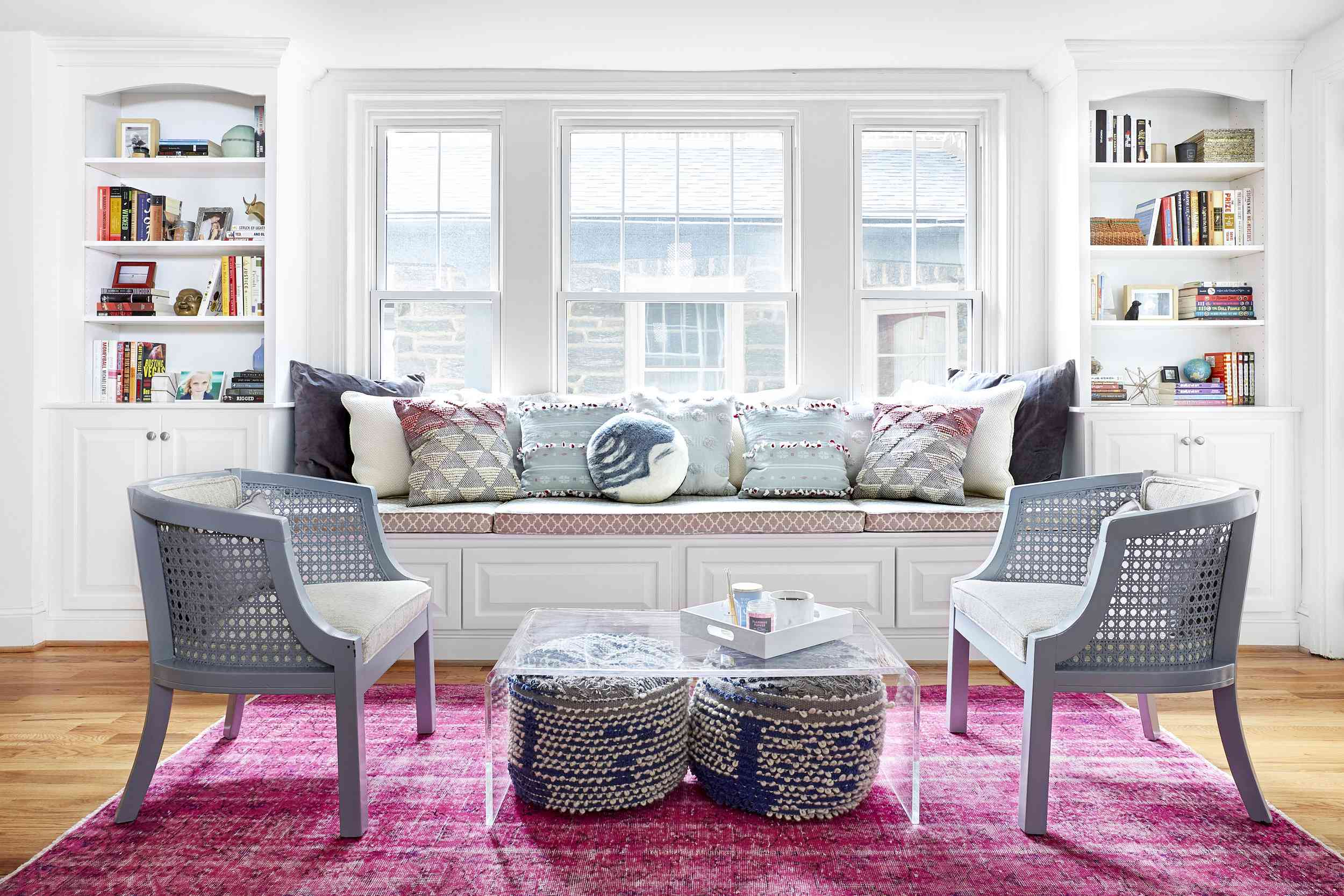 pink living room rug