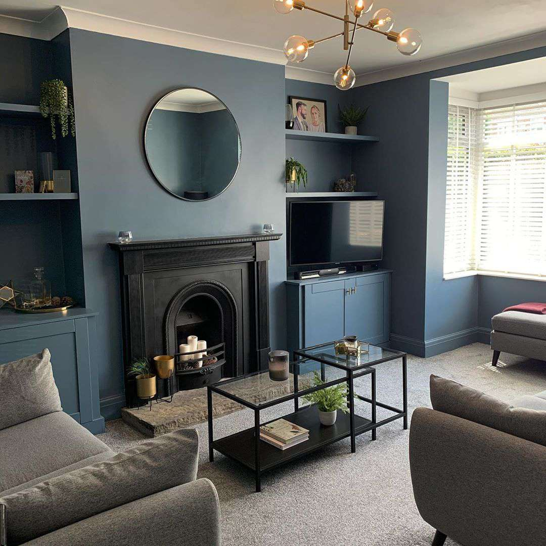 Muted dark blue living room
