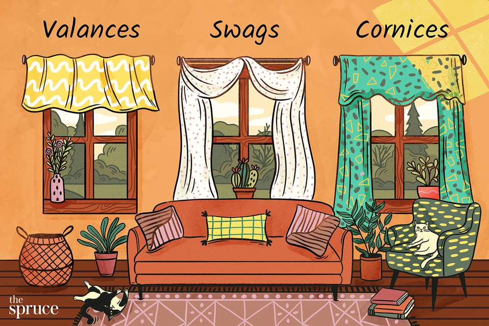 An illustration of a warm-toned living room highlighting the differences between valence, swag, and cornice style curtains.