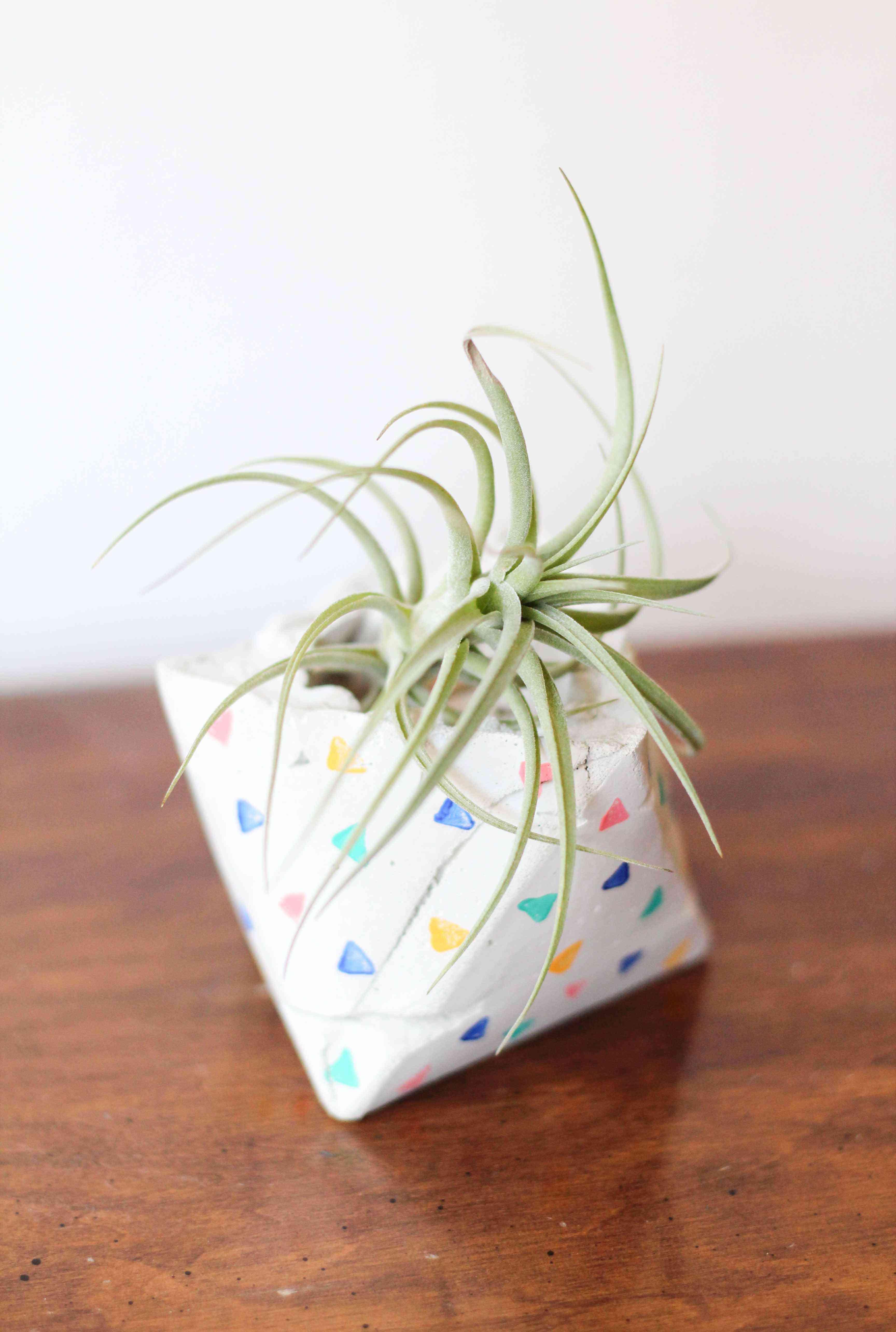 A colorful cement geometric planter