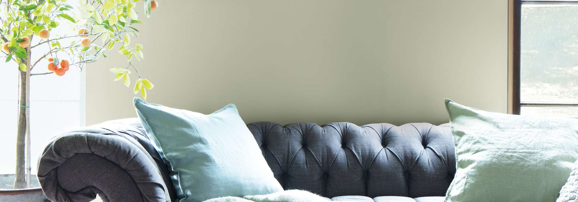 Benjamin Moore Color of the Year 2022 October Mist in living room