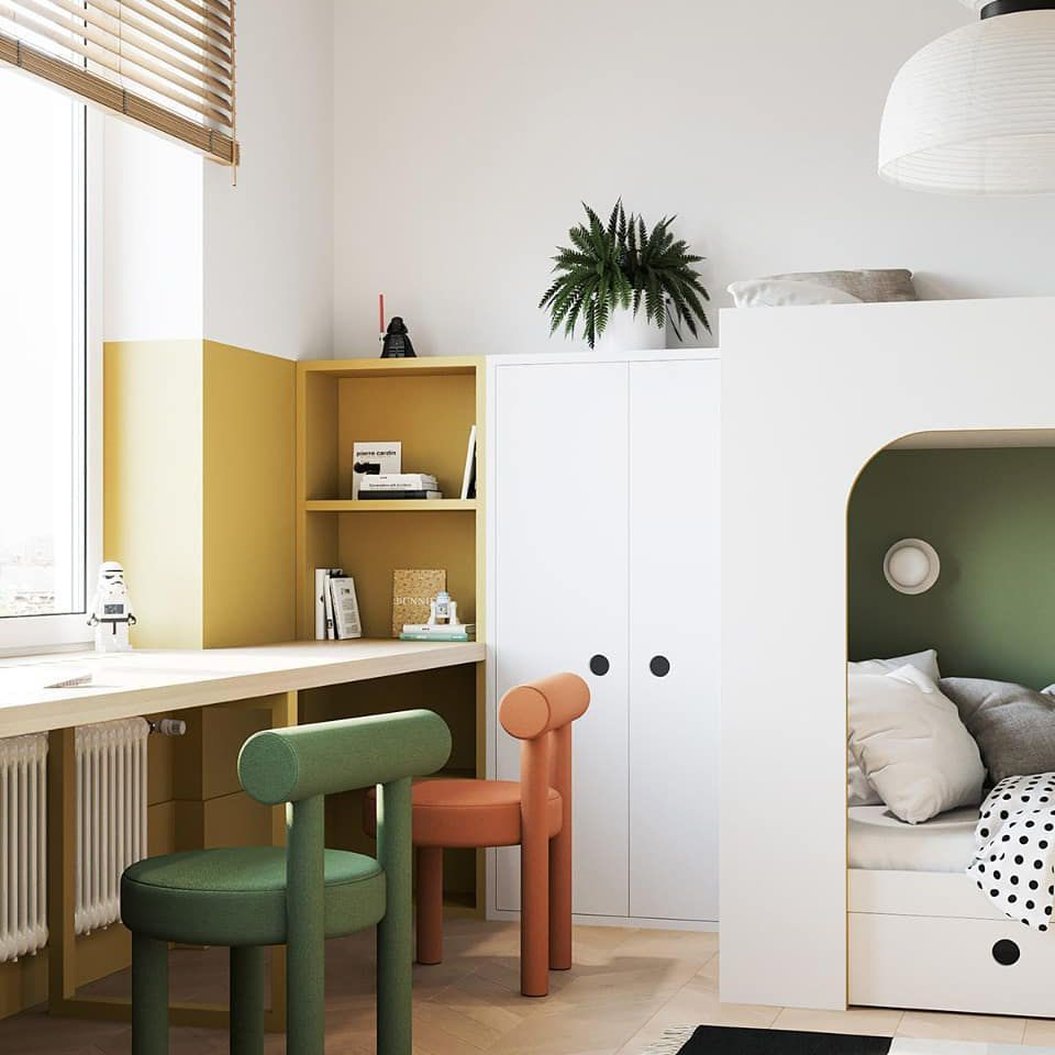 Bunk beds in a kid's room with color block design.