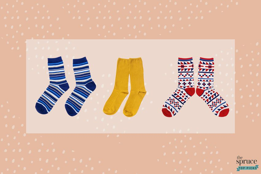 Photo composite of blue striped socks, yellow socks, and red nordic socks.