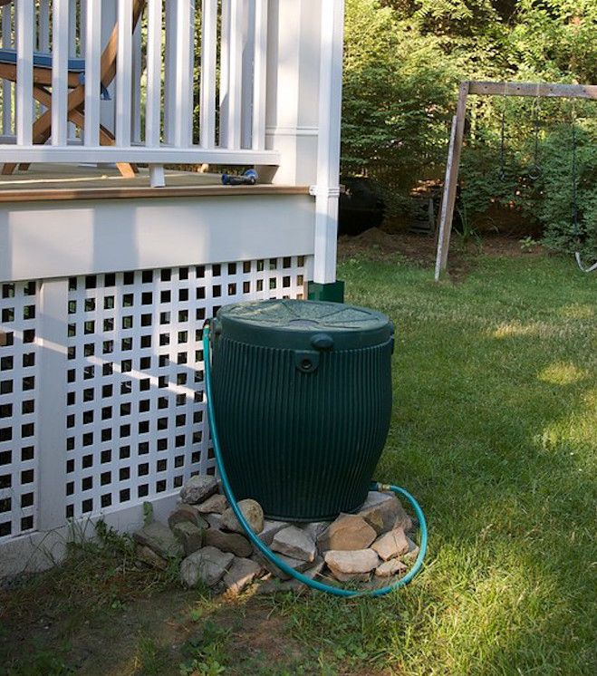 Dark green rain barrel and hose by white porch on green lawn