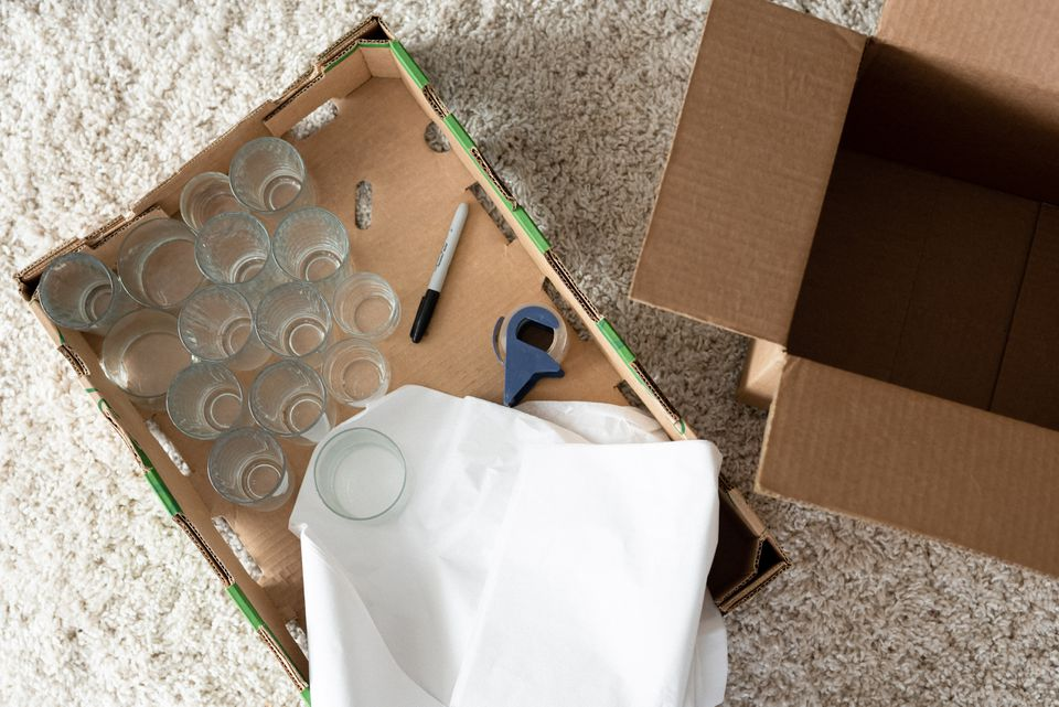 packing supplies and glasses