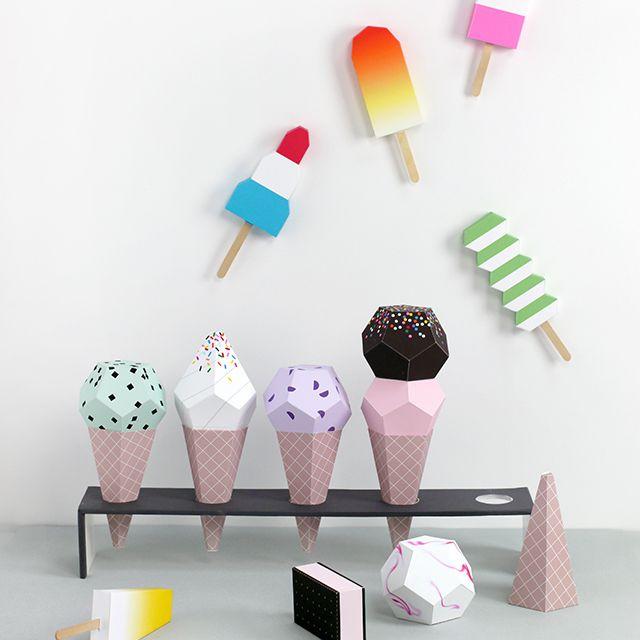 DIY 3D Paper Ice Cream Cones
