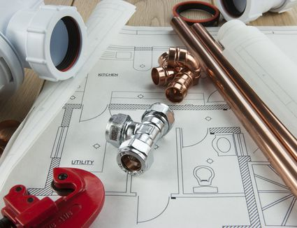 A plumbing diagram with copper pipe, tubing and fixings