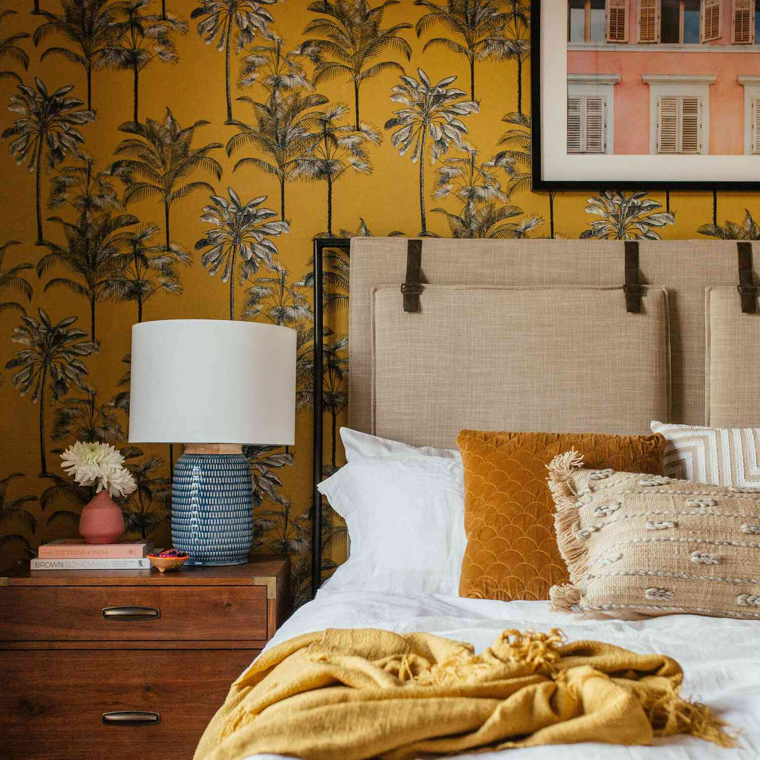bold, statement wallpaper in a bedroom