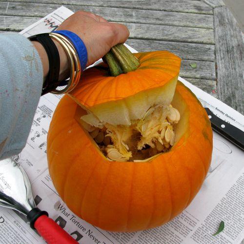 pulling pumpkin top off