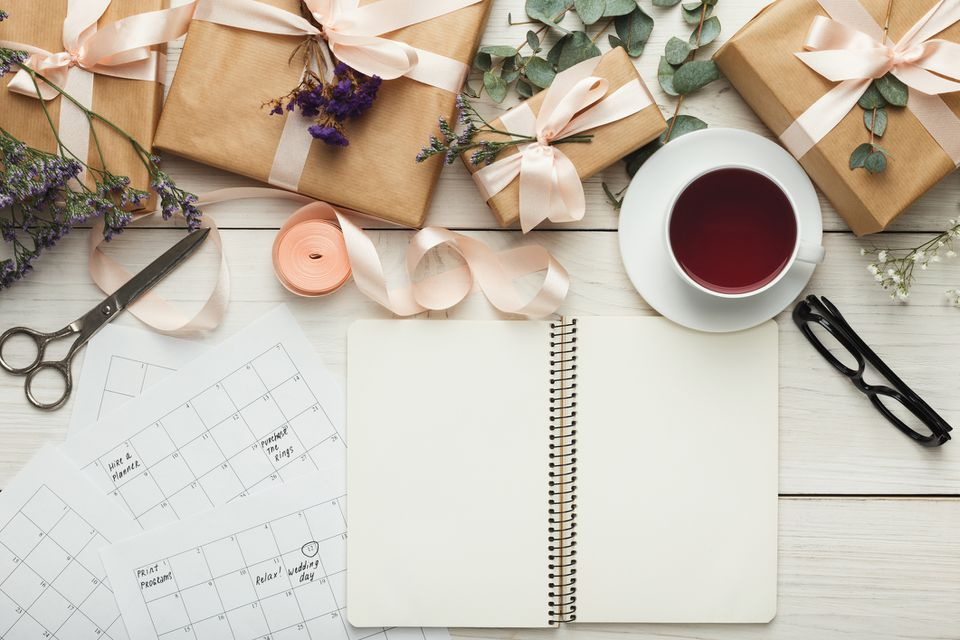 Wedding planning calendar, notebook, and presents