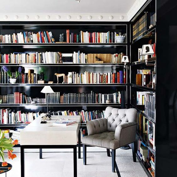 Home library with elegant furnishings