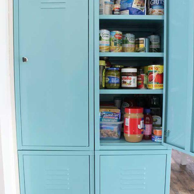 lockers as a kitchen pantry