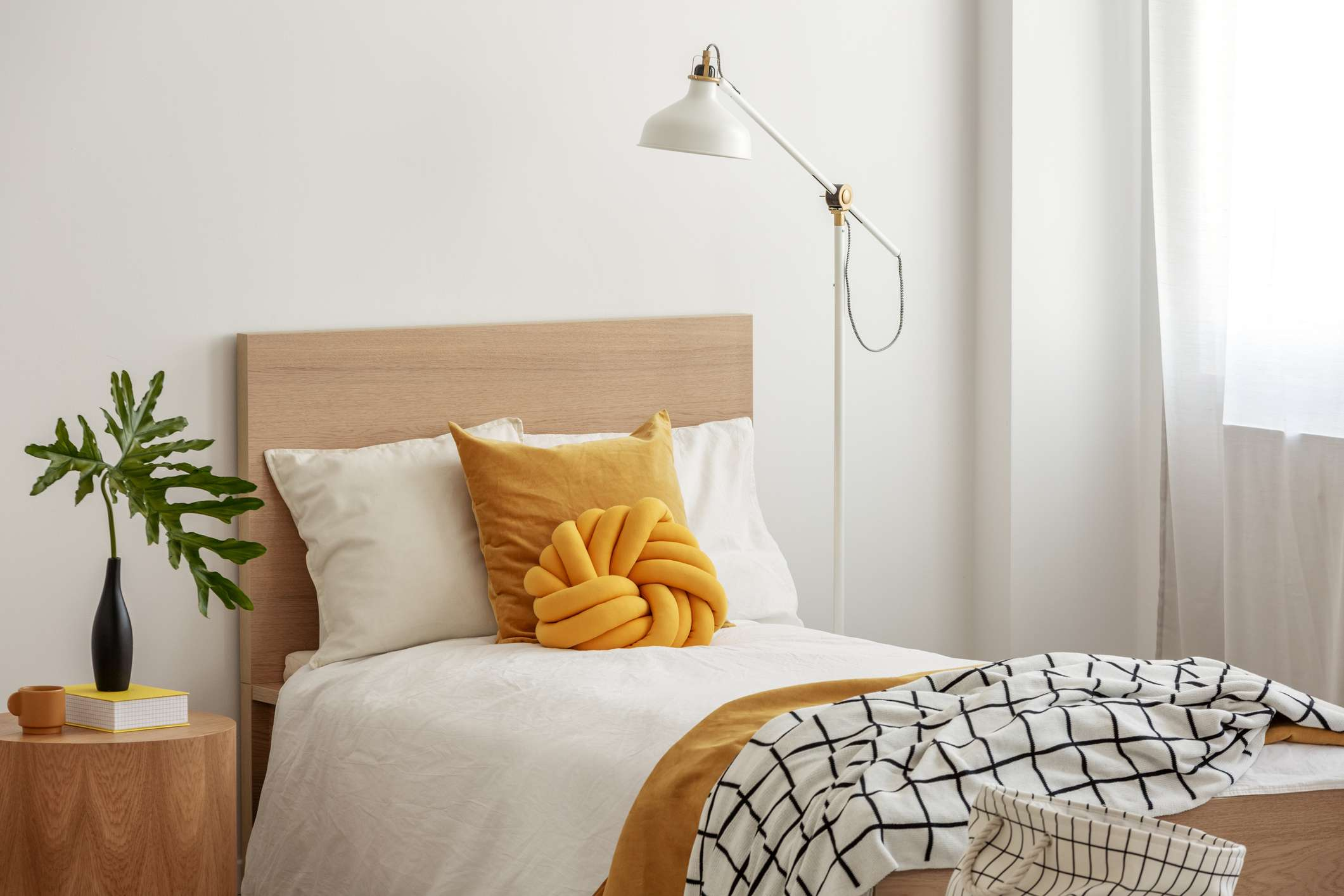 Yellow and white bedding