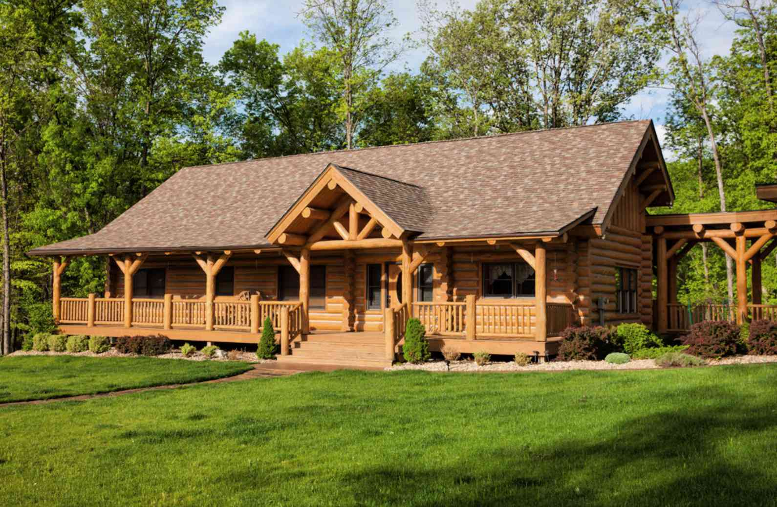 log home design in the woods